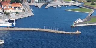 Yachthafen mit Tanken Benzin in Dänemark auf der Karte